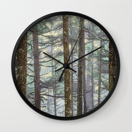 MISTY GOLDEN LIGHT IN A TOLKIENESQUE FOREST Wall Clock