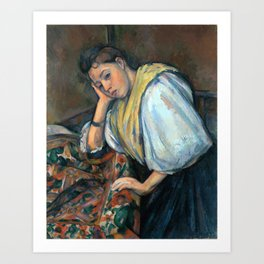 1895 - Paul Cezanne - Young Italian Woman at a Table Art Print
