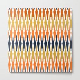 Boho, Geometric Art, Yellow, Blue Orange Metal Print