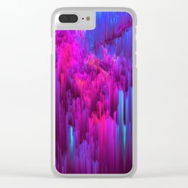 Outrun the Mist - Abstract Pixel Art Clear iPhone Case