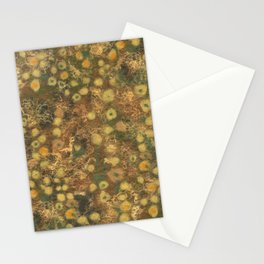 Golden Meadow, Abstract Floral Pattern,  Fiber Texture, Felted Wool  Stationery Cards