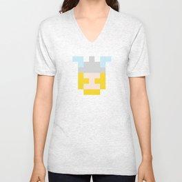 hero pixel flesh yellow grey Unisex V-Neck