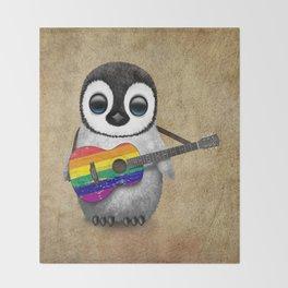 Baby Penguin Playing Gay Pride Rainbow Flag Guitar Throw Blanket