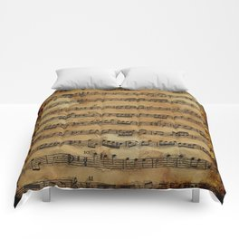Grunge Sheet Music Music-lover's Design Comforters