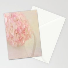 Pink Hydragea Flowers in White Vase Stationery Cards