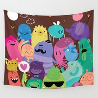 monsters Wall Tapestries featuring Monsters by Maria Jose Da Luz