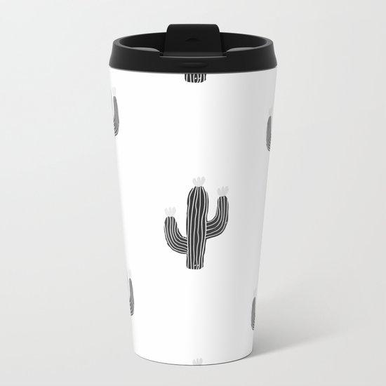 Cactus bloom - bw Metal Travel Mug