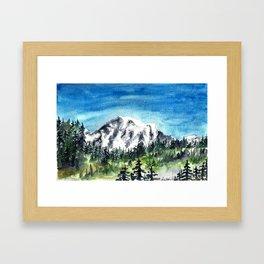 Mount Rainier Watercolor Framed Art Print