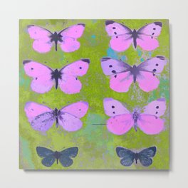 Pink butterfly vintage book plate style Metal Print