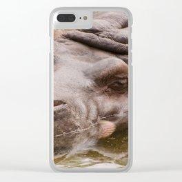Huge bored Hippopotamus Clear iPhone Case