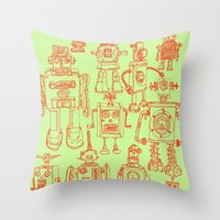 robots Throw Pillows featuring Robots! by Paul McCreery