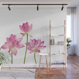 Lotos Waterlilies Flowes pink Wall Mural