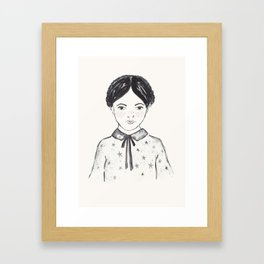 A little girl and the stars Framed Art Print