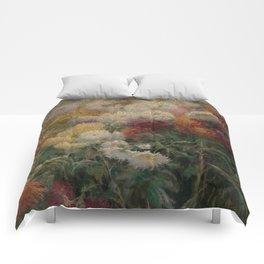 Chrysanthemums in the Garden at Petit-Gennevilliers - Claude Monet Comforters