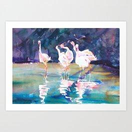 Flamingo Lake Art Print