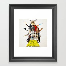 Star War s Vintage Action Figures - First 12 - Square Framed Art Print