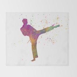 Taewondo-karate-muay thai in watercolor 03 Throw Blanket
