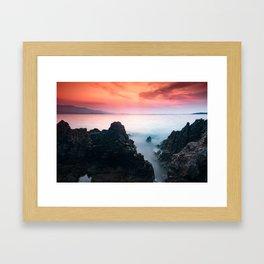 sunset at Ionian sea Framed Art Print