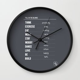 Lab No. 4 - Fill in the blanks.. Exercise timetable schedule Inspirational Quotes Poster Wall Clock