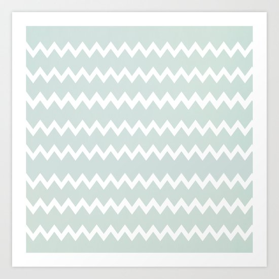 Wedgewood Blue Winter Chevron Design Art Print