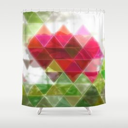 Red Rose with Light 1 Art Triangles 1 Shower Curtain