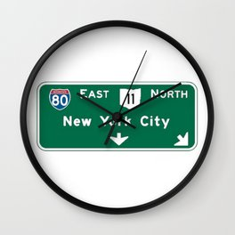 New York City Interstate 80 Sign Wall Clock