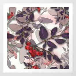 Bunches of red Rowan. Autumn. Art Print
