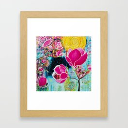 STAINED GLASS MAGNOLIAS Framed Art Print
