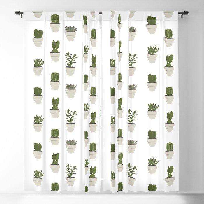 Cacti & Succulents - White Blackout Curtain