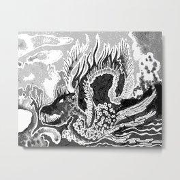 greyscale dragon Metal Print