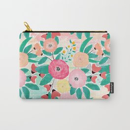 Modern brush paint abstract floral paint Carry-All Pouch