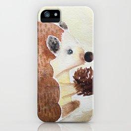 Henrietta Hedgehog with her Pinecone iPhone Case