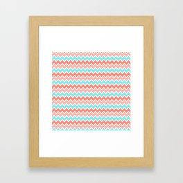 Coral Peach Pink and Aqua Turquoise Blue Chevron Framed Art Print