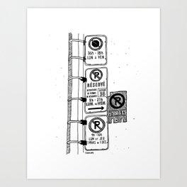 Montréal - Parking Hell - Black Art Print