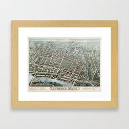 Vintage Pictorial Map of Lawrence Massachusetts (1876) Framed Art Print