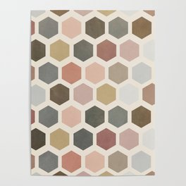 mod hive | organic honeycomb pattern in muted tones Poster