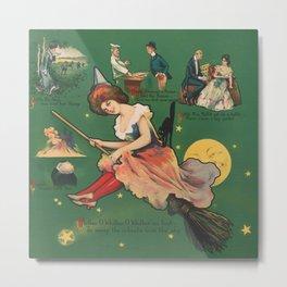 Vintage Witch on a Broomstick Illustration Metal Print