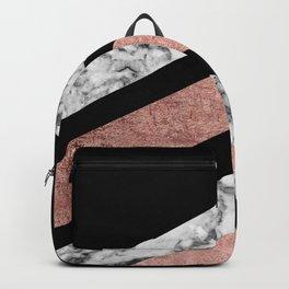 Modern rose gold black white geometric marble Backpack