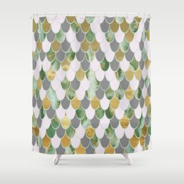 Oceanic Green Pink Gold Mermaid Scales FHLVLB Shower Curtain