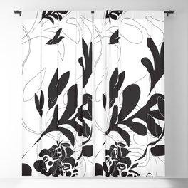 Black floral foliage Blackout Curtain