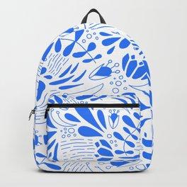 Flora in Blue Backpack
