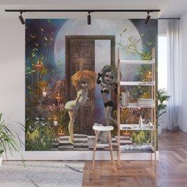 Cute dark fairys with cat Wall Mural