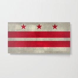 Washington D.C flag with worn stone marbled patina Metal Print