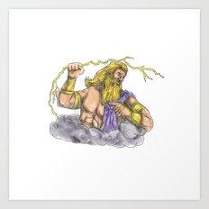 Zeus Wielding Thunderbolt Lightning Tattoo Art Print