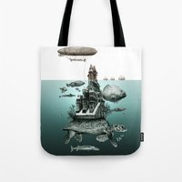 sea turtle Tote Bags featuring turtle by Кaterina Кalinich
