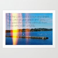 bible verse Art Prints featuring Bible Verse: Sun and Shield by Breathealittlesparkle