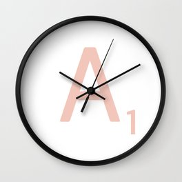 Pink Scrabble Letter A - Scrabble Tile Art Wall Clock