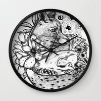 kitsune Wall Clocks featuring Kitsune by Owen Swerts