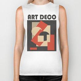 Geometrical abstract art deco mash-up scarlet beige Biker Tank