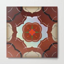 Vintage Tiles: Red Metal Print